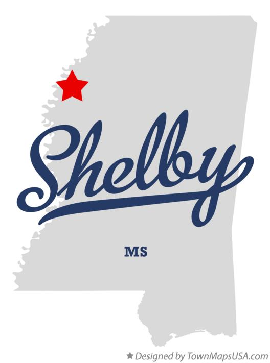 Map of Shelby Mississippi MS
