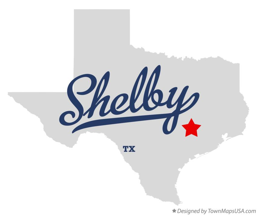 Map of Shelby Texas TX