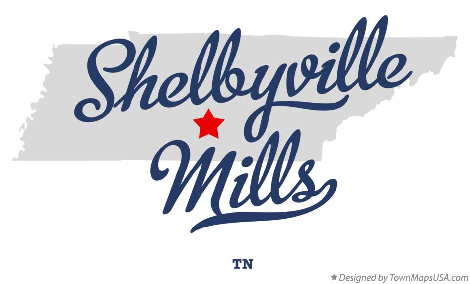 Map of Shelbyville Mills Tennessee TN