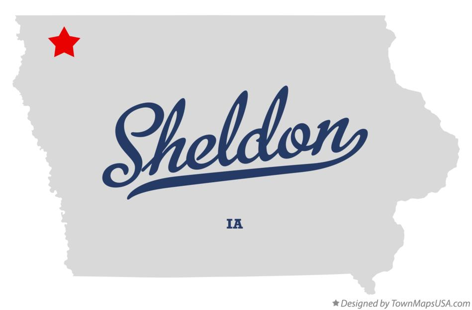 Map of Sheldon Iowa IA