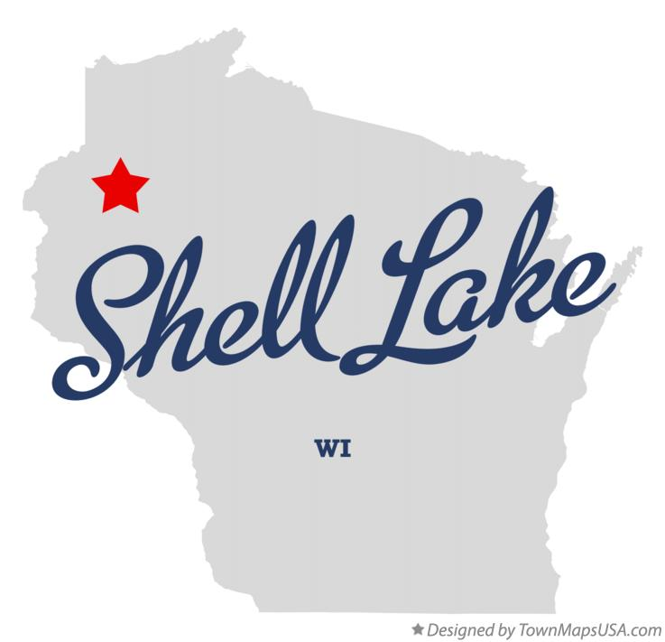 Map of Shell Lake Wisconsin WI