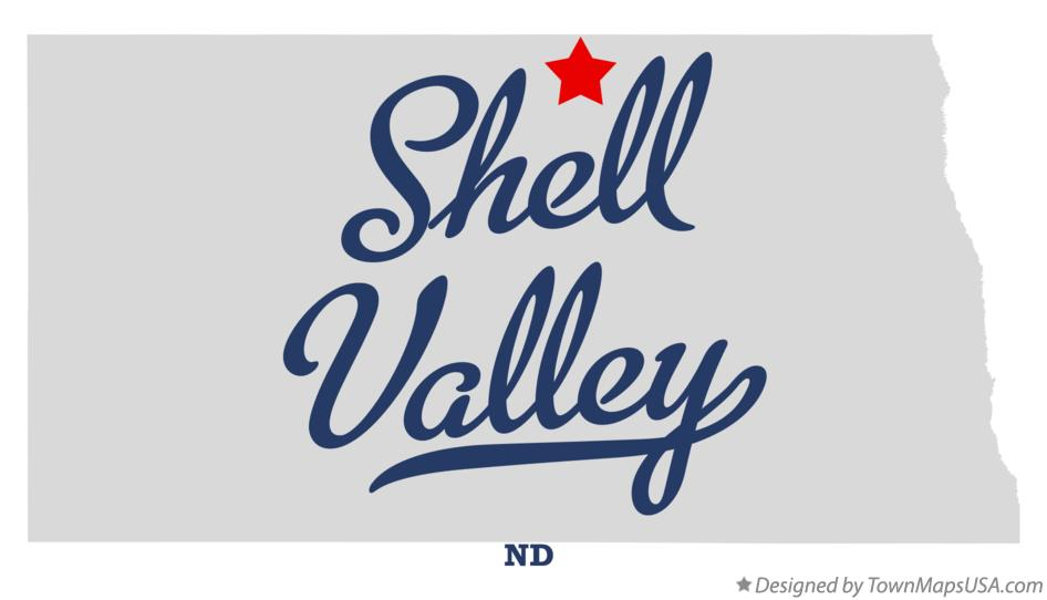 Map of Shell Valley North Dakota ND