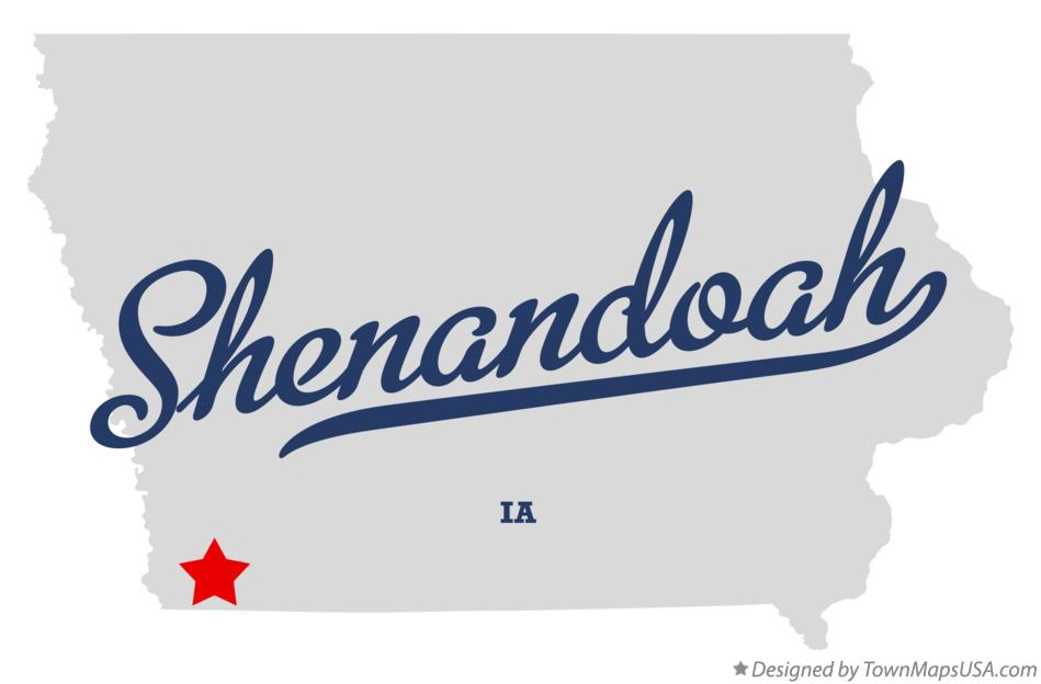 Map of Shenandoah Iowa IA