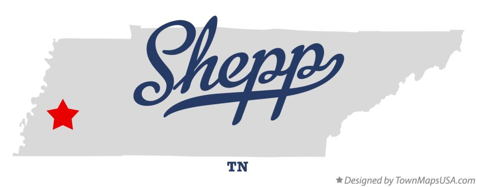 Map of Shepp Tennessee TN