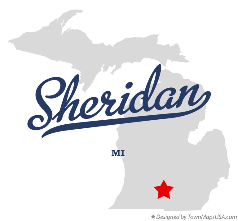 Map of Sheridan Michigan MI