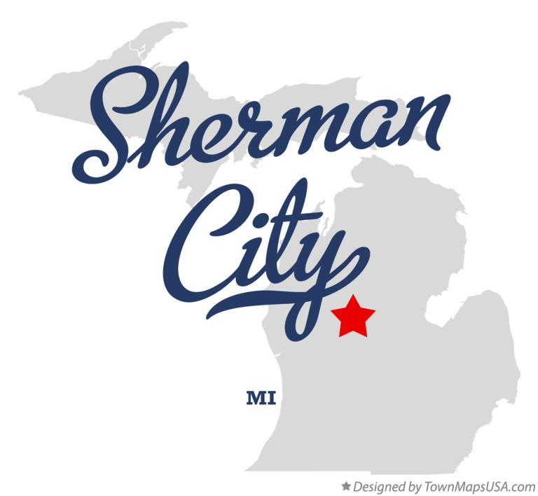 Map of Sherman City Michigan MI