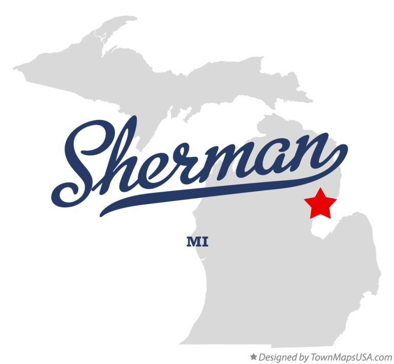 Map of Sherman Michigan MI
