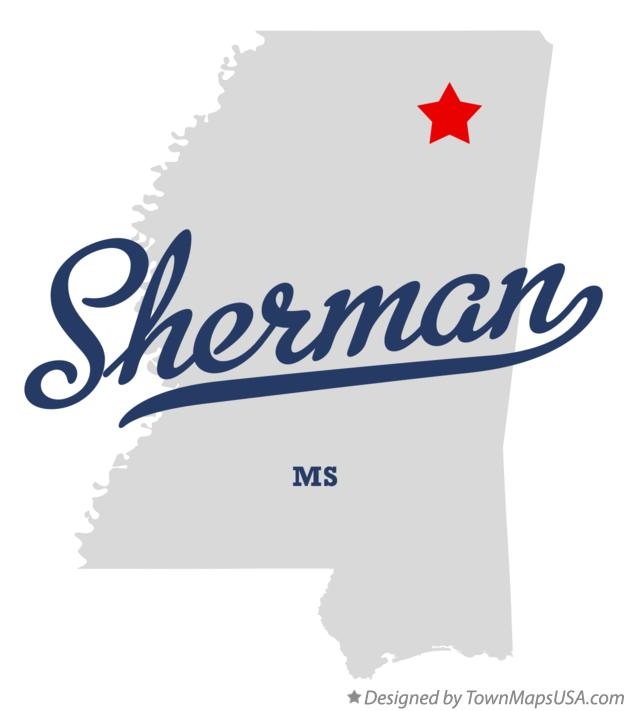 Map of Sherman Mississippi MS