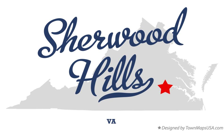 Map of Sherwood Hills Virginia VA