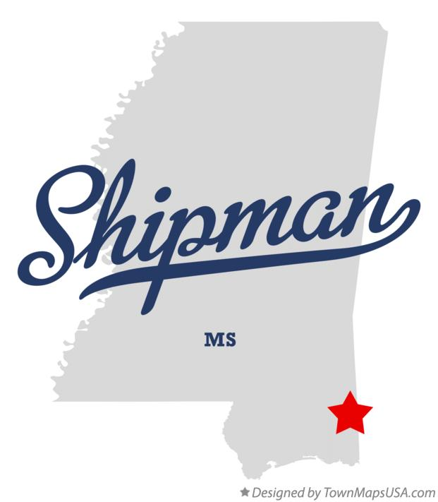 Map of Shipman Mississippi MS