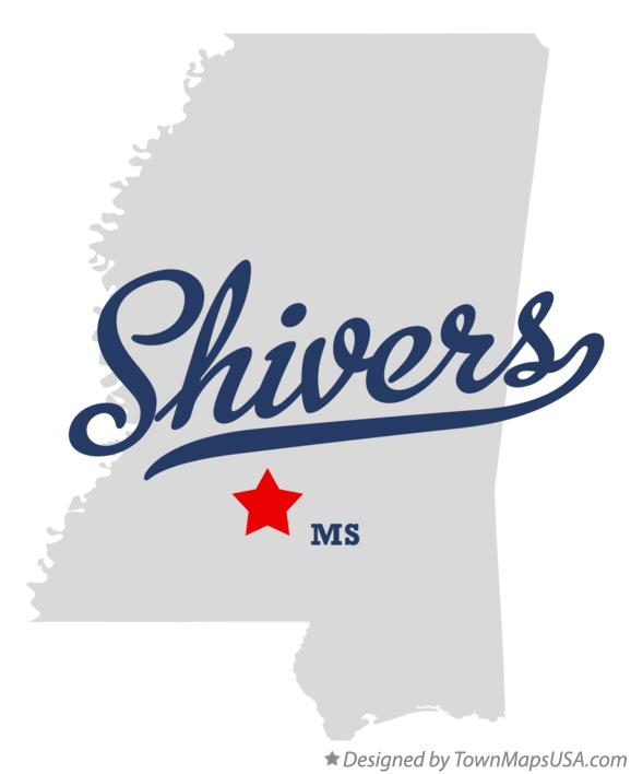 Map of Shivers Mississippi MS
