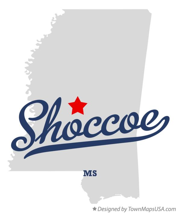 Map of Shoccoe Mississippi MS
