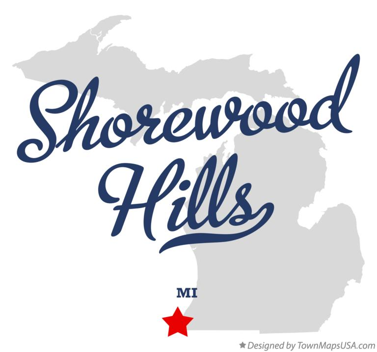 Map of Shorewood Hills Michigan MI
