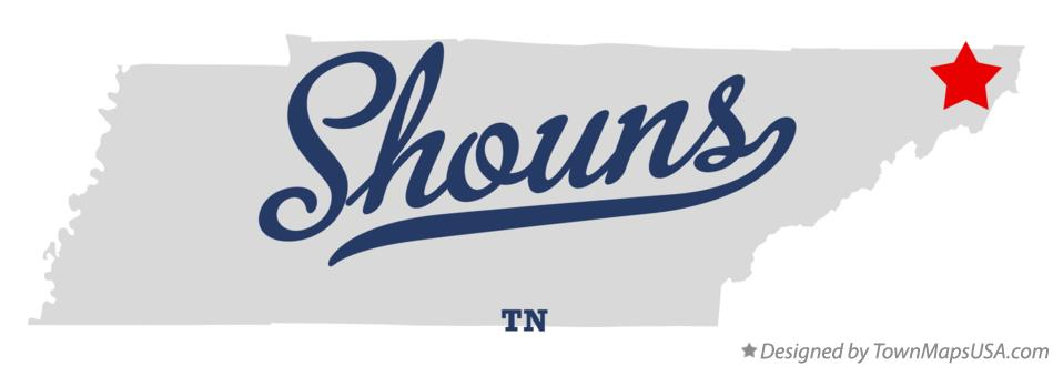 Map of Shouns Tennessee TN