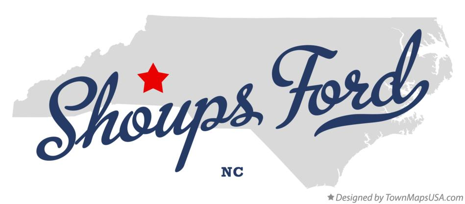 Map of Shoups Ford North Carolina NC