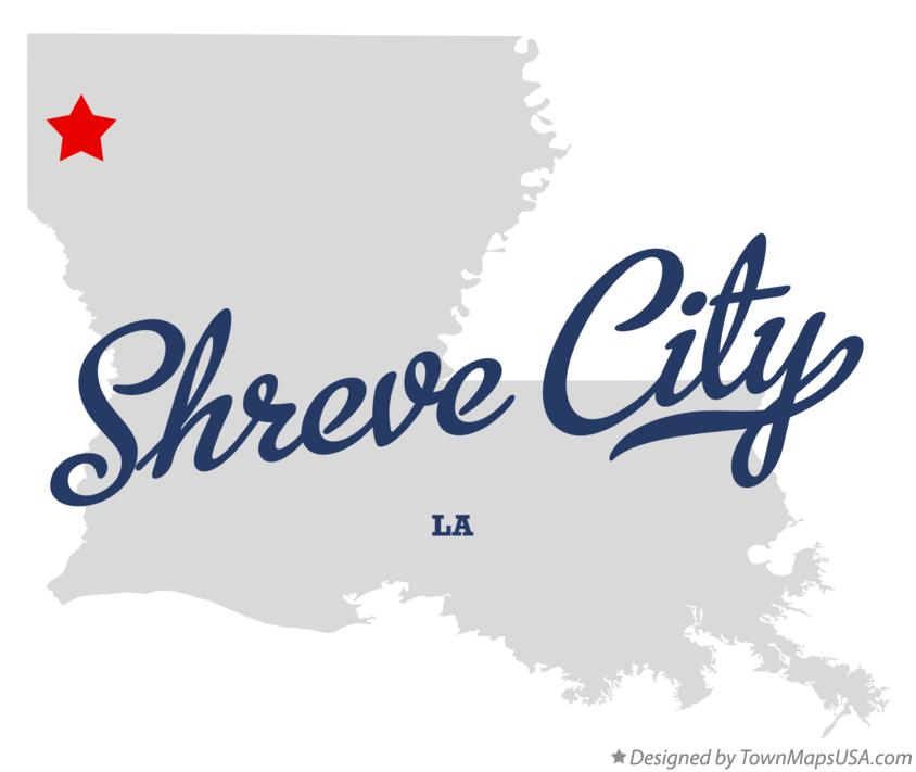 Map of Shreve City Louisiana LA