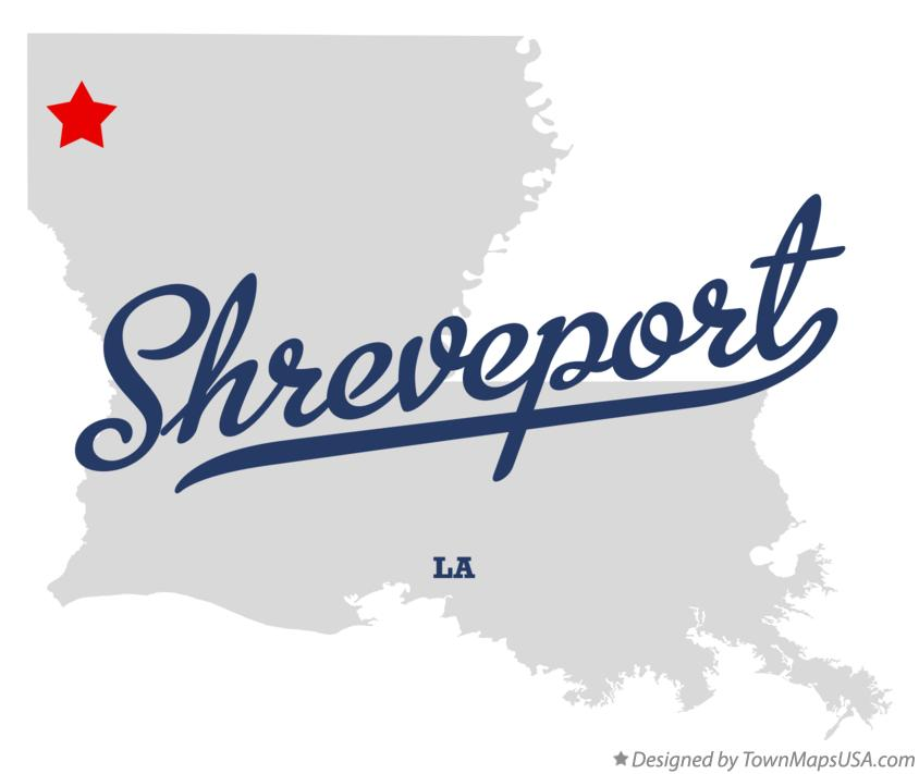 Map of Shreveport Louisiana LA