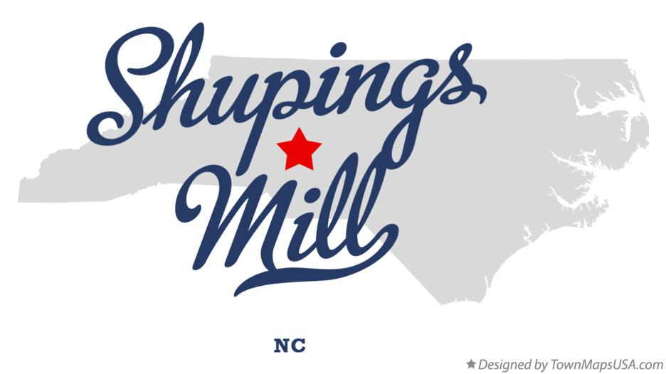 Map of Shupings Mill North Carolina NC