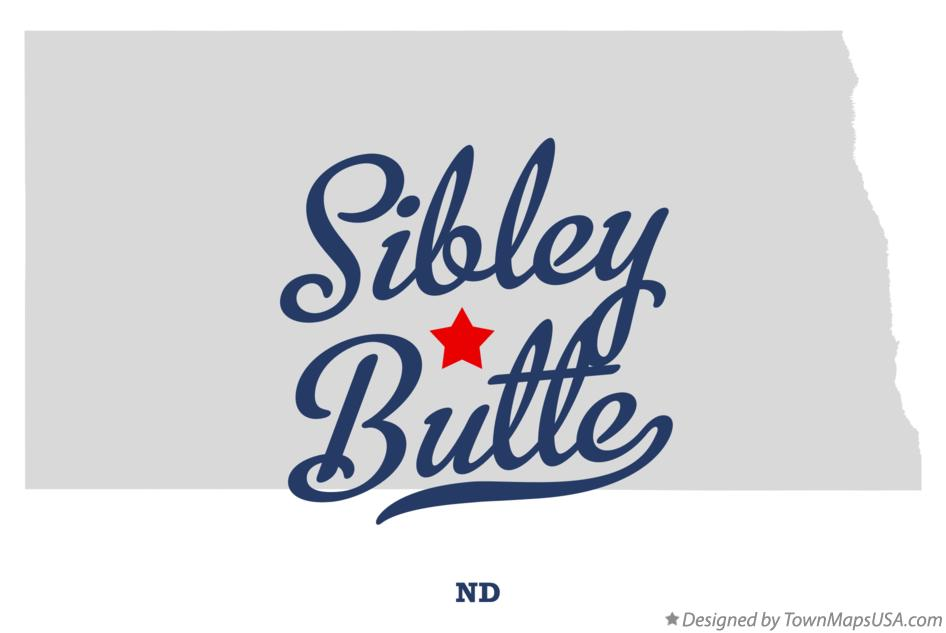 Map of Sibley Butte North Dakota ND