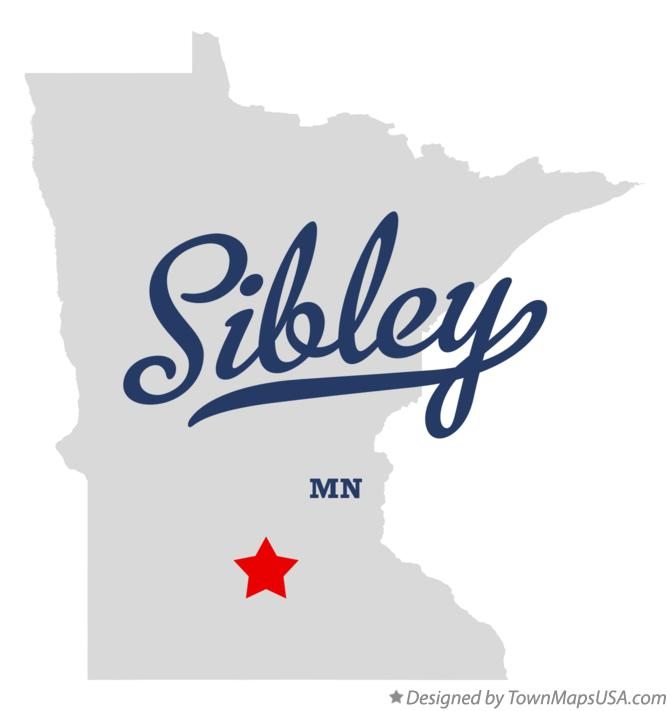Map of Sibley Minnesota MN