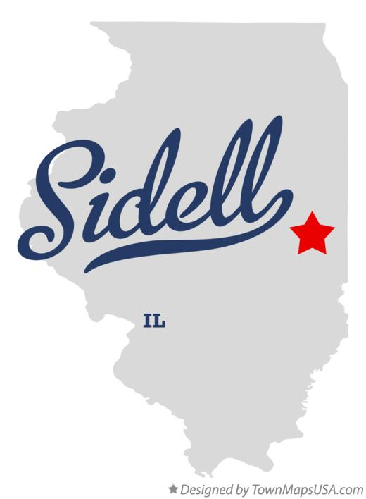 Map of Sidell Illinois IL