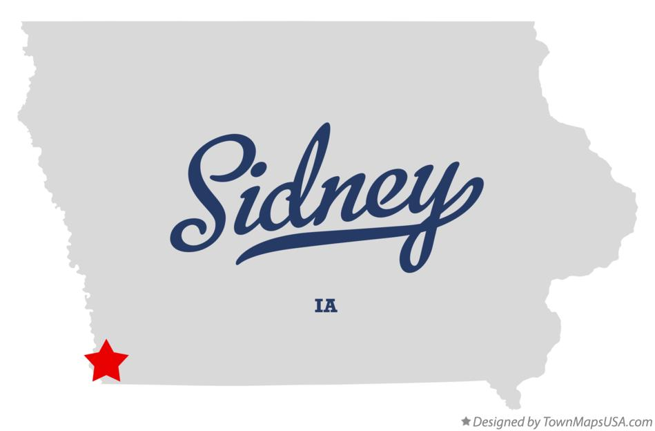 Map of Sidney Iowa IA