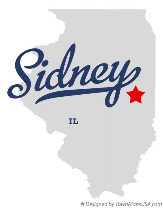 Map of Sidney Illinois IL