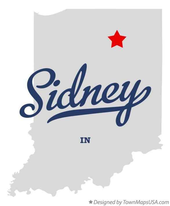 Map of Sidney Indiana IN