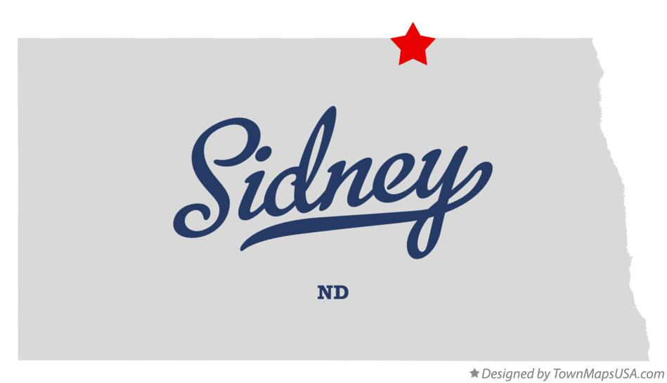 Map of Sidney North Dakota ND