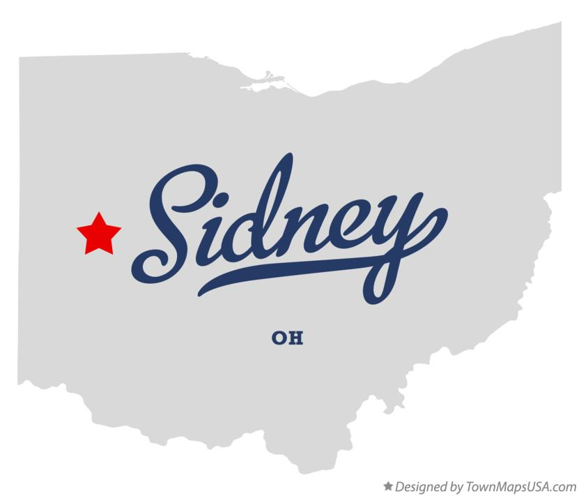 Map of Sidney Ohio OH