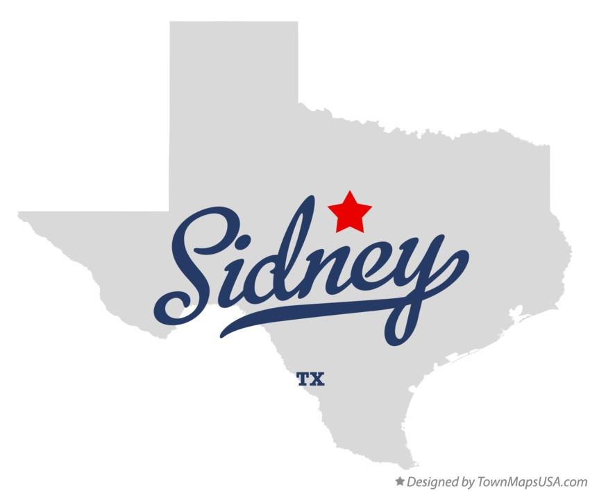 Map of Sidney Texas TX