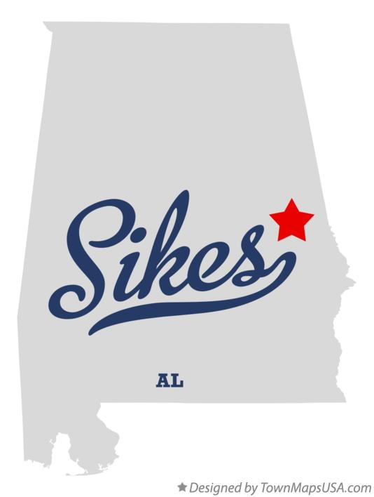 Map of Sikes Alabama AL