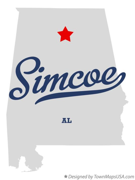 Map of Simcoe Alabama AL