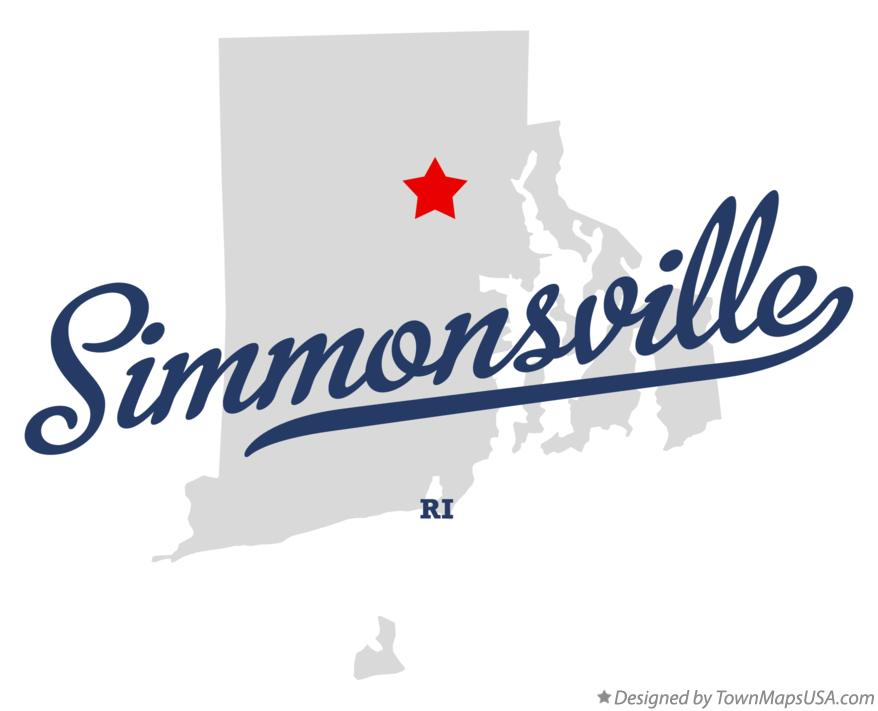 Map of Simmonsville Rhode Island RI