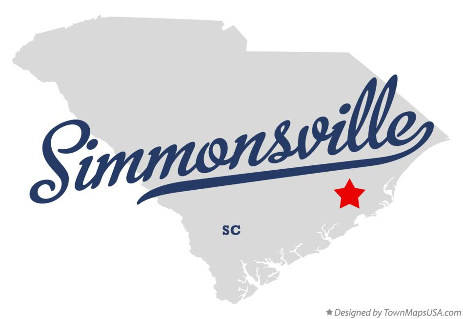 Map of Simmonsville South Carolina SC