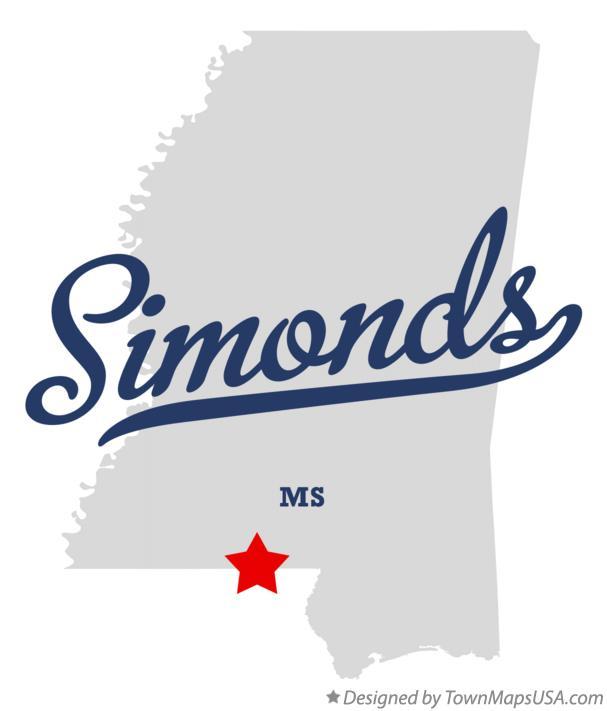Map of Simonds Mississippi MS