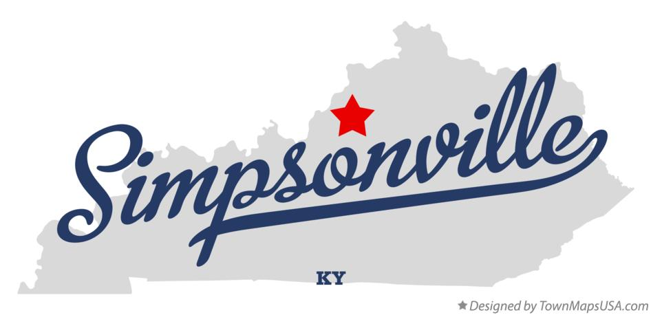 Map of Simpsonville Kentucky KY