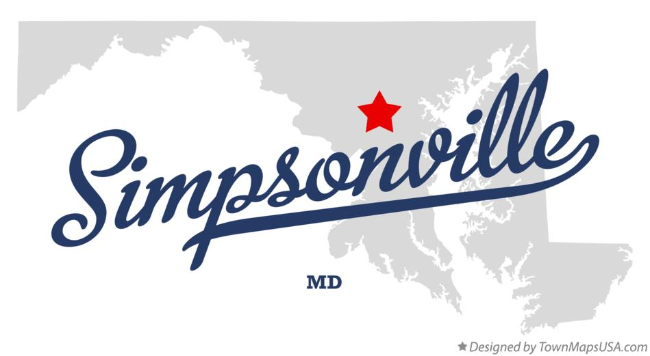 Map of Simpsonville Maryland MD