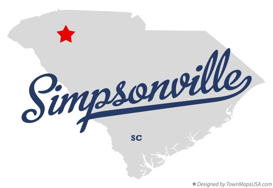 Map of Simpsonville South Carolina SC