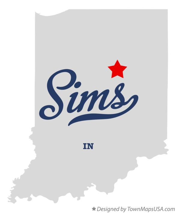 Map of Sims Indiana IN