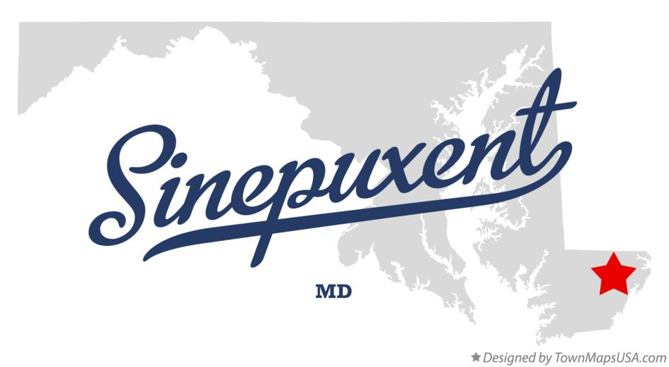 Map of Sinepuxent Maryland MD