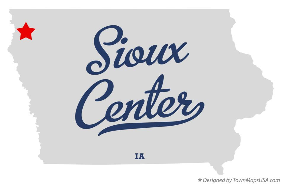 Map of Sioux Center Iowa IA