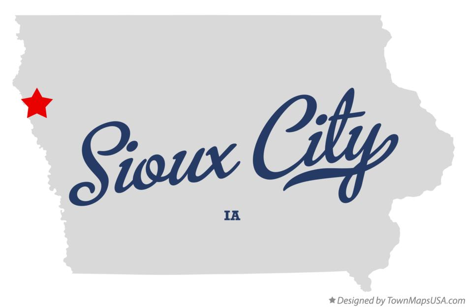 Map of Sioux City, IA, Iowa