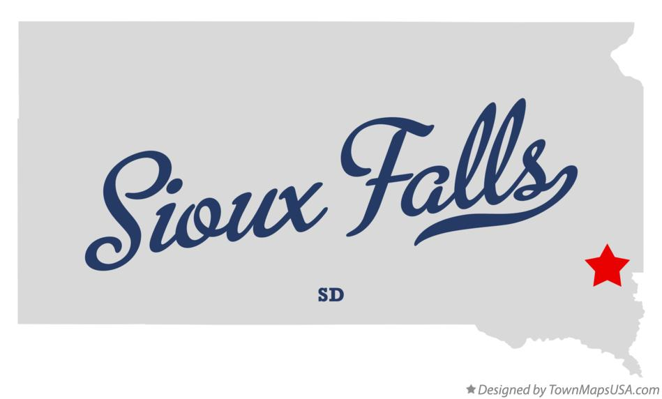 Map of Sioux Falls South Dakota SD