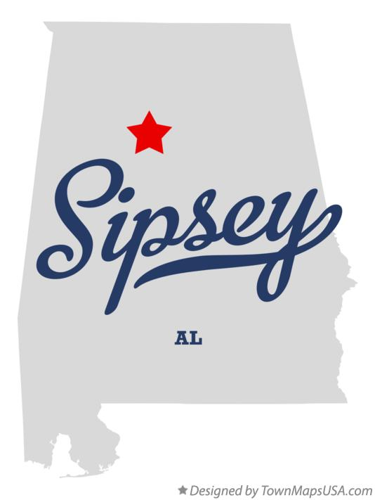 Map of Sipsey Alabama AL