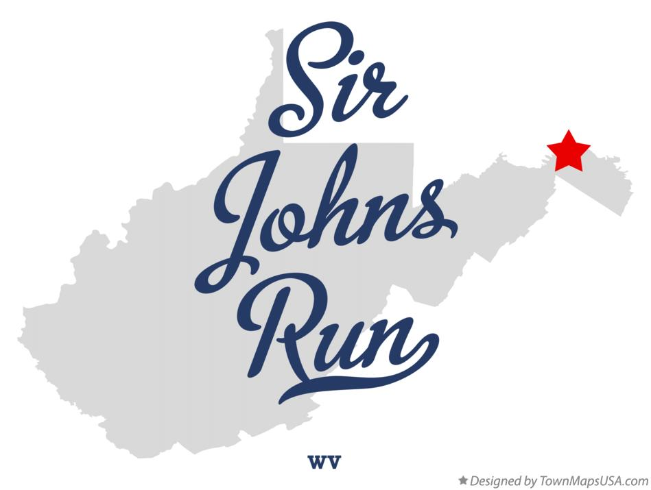 Map of Sir Johns Run West Virginia WV