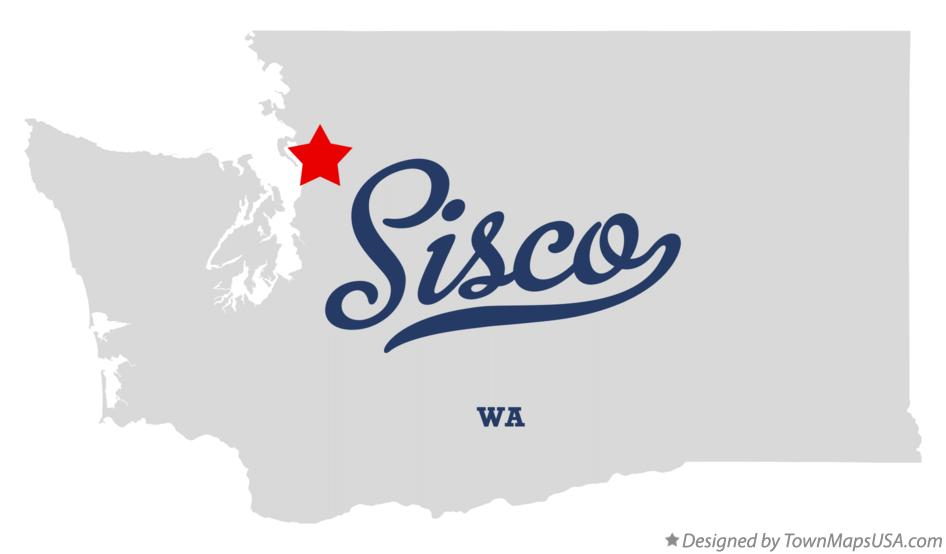 Map of Sisco Washington WA