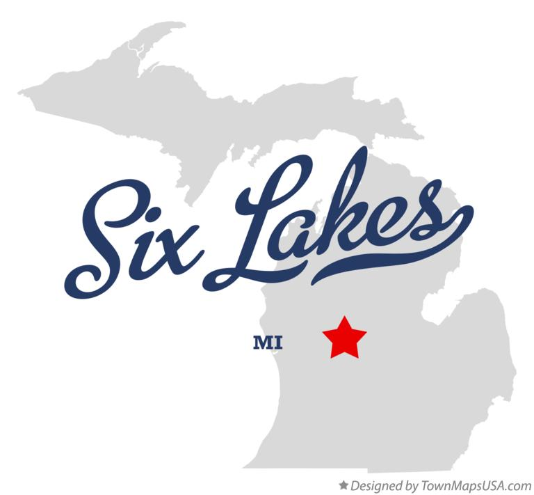 Map of Six Lakes Michigan MI