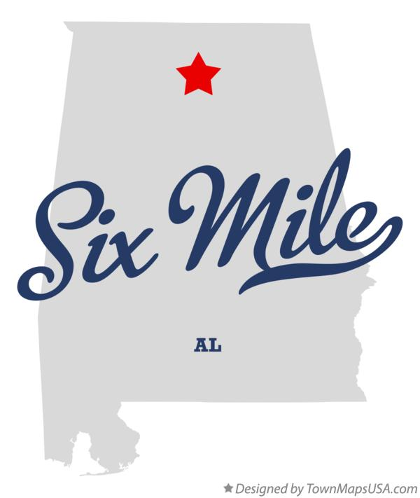 Map of Six Mile Alabama AL