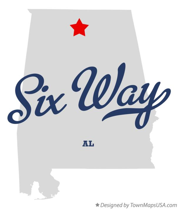 Map of Six Way Alabama AL